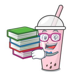 Student with book raspberry bubble tea character vector