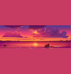 sunset in ocean pink clouds in sky with shiny sun vector image