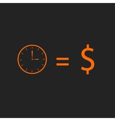Time is money Orange on black vector