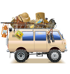 Travel car with safari accessories vector