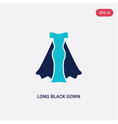Two color long black gown icon from fashion vector