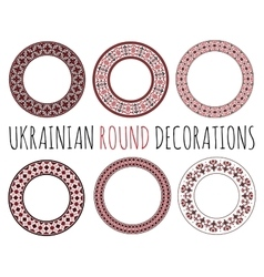 Ukrainian Round Decorative Ornaments vector