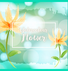 Watercolor background with yellow flowers vector
