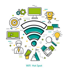 Wifi hot spot - line art concept vector