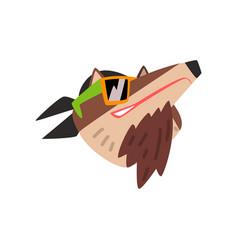 Wolf wearing bandana and sunglasses animal vector