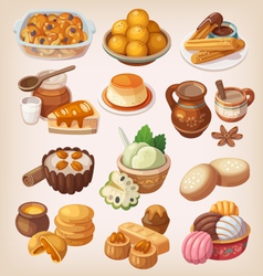 Colorful traditional mexican desserts vector image vector image