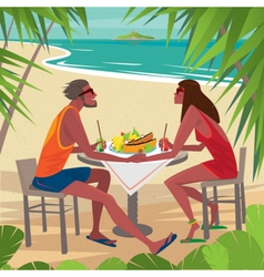 Couple at the table eating breakfast on the beach vector image
