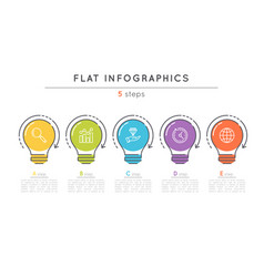 flat style 5 steps timeline infographic template vector image vector image