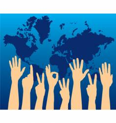 map with hands vector image vector image
