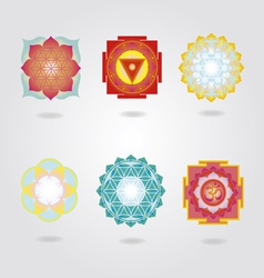 Mini mandalas and Yantra set vector image vector image