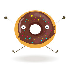 sweet chocolate donut with funny face long arms vector image