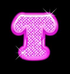 T letter pink bling girly vector image