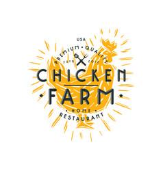 chicken farm label vector image vector image