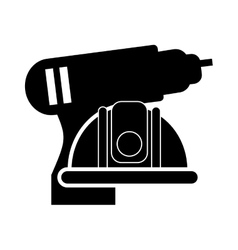Drill and safety helmet icon vector