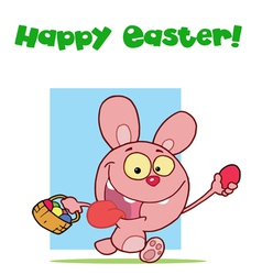 Easter Greeting Above A Pink Rabbit vector image