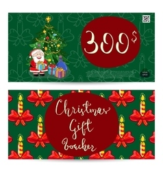 Christmas Gift Voucher with Prepaid Sum Template vector image vector image