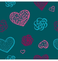 doodle seamless pattern of hearts vector image vector image