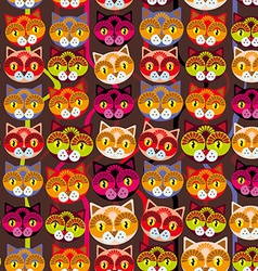 Seamless background with muzzle of cats on brown vector image vector image