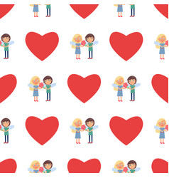 seamless pattern with boy and girl couple wings vector image vector image