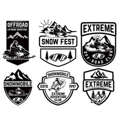 set of snowmobile emblems isolated on white vector image vector image