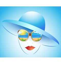 summer girl in a hat vector image vector image