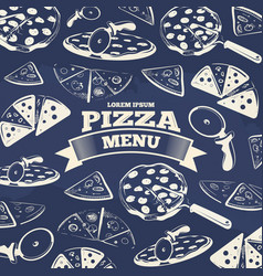 vintage pizza menu cover design vector image