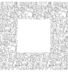 animal toys seamless frame pattern vector image