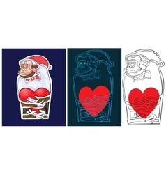 Lovely monkey who holds heart in hand vector image