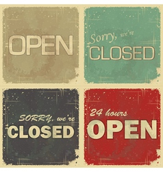 Set of signs open - closed vector