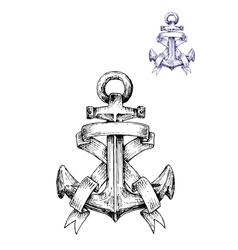 Vintage heraldic sketched anchor with ribbons vector image vector image