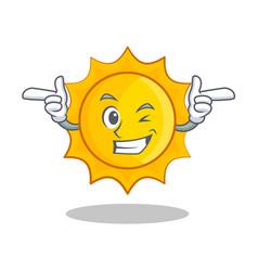 wink cute sun character cartoon vector image
