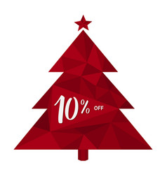 10 off - ten percent discount on triangle tree vector image