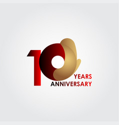 10 years anniversary celebration red gold vector