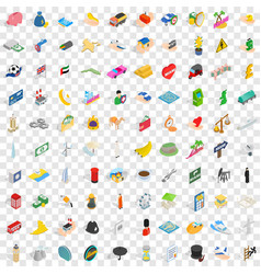100 auto icons set isometric 3d style vector