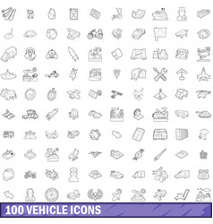 100 vehicle icons set outline style vector image