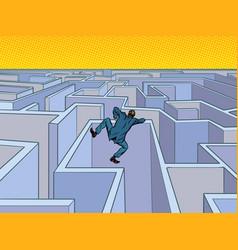 a businessman tries to pass a maze vector image