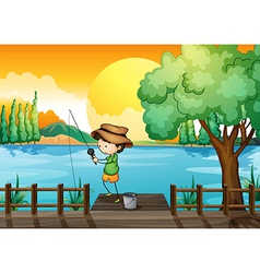 A man fishing vector image