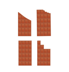 a set of chocolate bars whole broken bitten vector image
