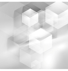 Abstract grey smooth waves and tech cubes vector