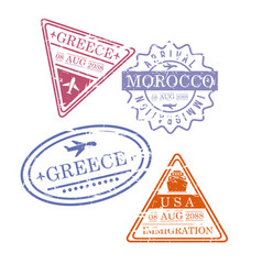 Airplane travel stamps greece morocco usa in vector