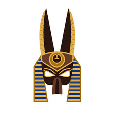 Ancient egyptian god anubis mask in flat vector