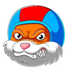angry bunny wearing helmet racer vector image