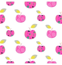 Apple pink pattern Seamless ornament vector