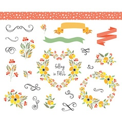 Autumn wedding graphic set with wreaths vector