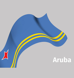 background with aruba wavy flag vector image
