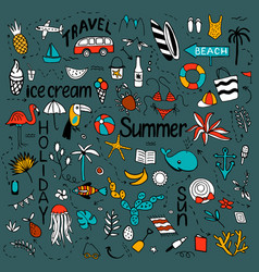 background with summer set isolated cute vector image