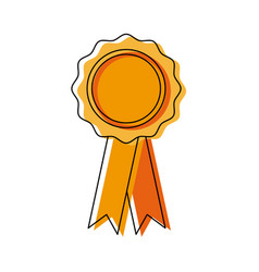 Badge with ribbons winner medal vector