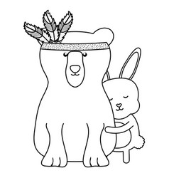 Bear grizzly and rabbit bohemian style vector