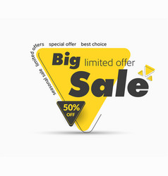Big sale yellow label with 50 off sale discount vector