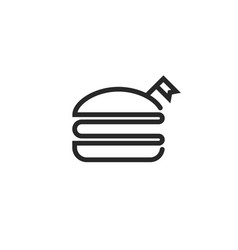 burger logo with flag black and white fast food vector image